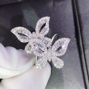 NEW 925 Silver Diamond Double Butterfly Ring